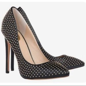 Janiko Black Leather Luxury Heel with Gold Studs